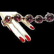 Big Chunky Vintage 1950s Amethyst Glass Faceted Bracelet