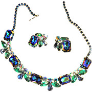 Bermuda Blue Watermelon Vintage 50s Necklace and Earrings