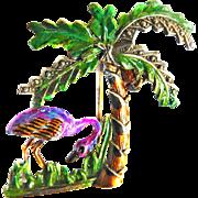 Fabulous Flamingo Under Palm Tree w Coconut 1940s Brooch