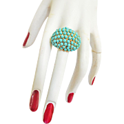 Vintage 50s Adjustable Dome Ring Turquoise Faux Beads