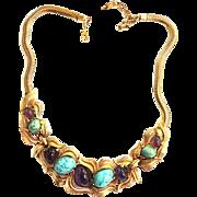 Vintage Boucher Matrix Cabochon Detailed Necklace