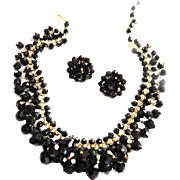 Elegant Classic Jet Black faceted Glass Collar and Earrings
