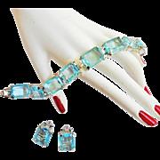 Gorgeous Judy Lee Aqua Marine Rhinestone Bracelet and Earrings