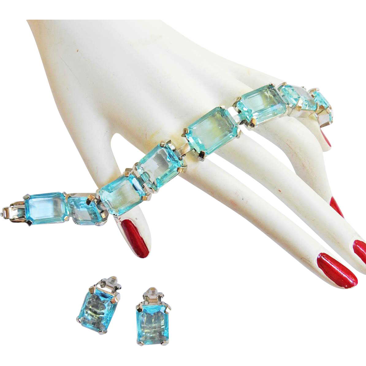 Gorgeous Judy Lee Aqua Marine Rhinestone Bracelet and Earrings