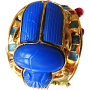 Mystical Huge Enamel Scarab 1970s Egyptian Revival Bracelet