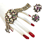 Vintage Hobe Huge Rhinesotne Encrusted Cameo Bracelet andEarrings