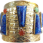 Fabulous Egyptian Revival Glass Lapis  Cuff Bracelet Vintage