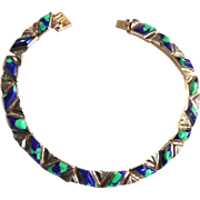 Breathtaking Mexican Azurite Sterling Silver Necklace 1940s