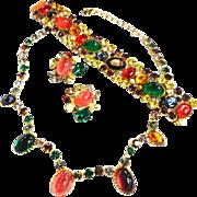 magnificent Caviness Mogul Glass Jewels Cabochons Necklace Bracelet Earrings Vintage