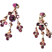 Show Stopping Vintage Amethyst Rhinestone Earrings