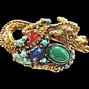Fabulous Huge rt Glass Dragon Brooch Designer