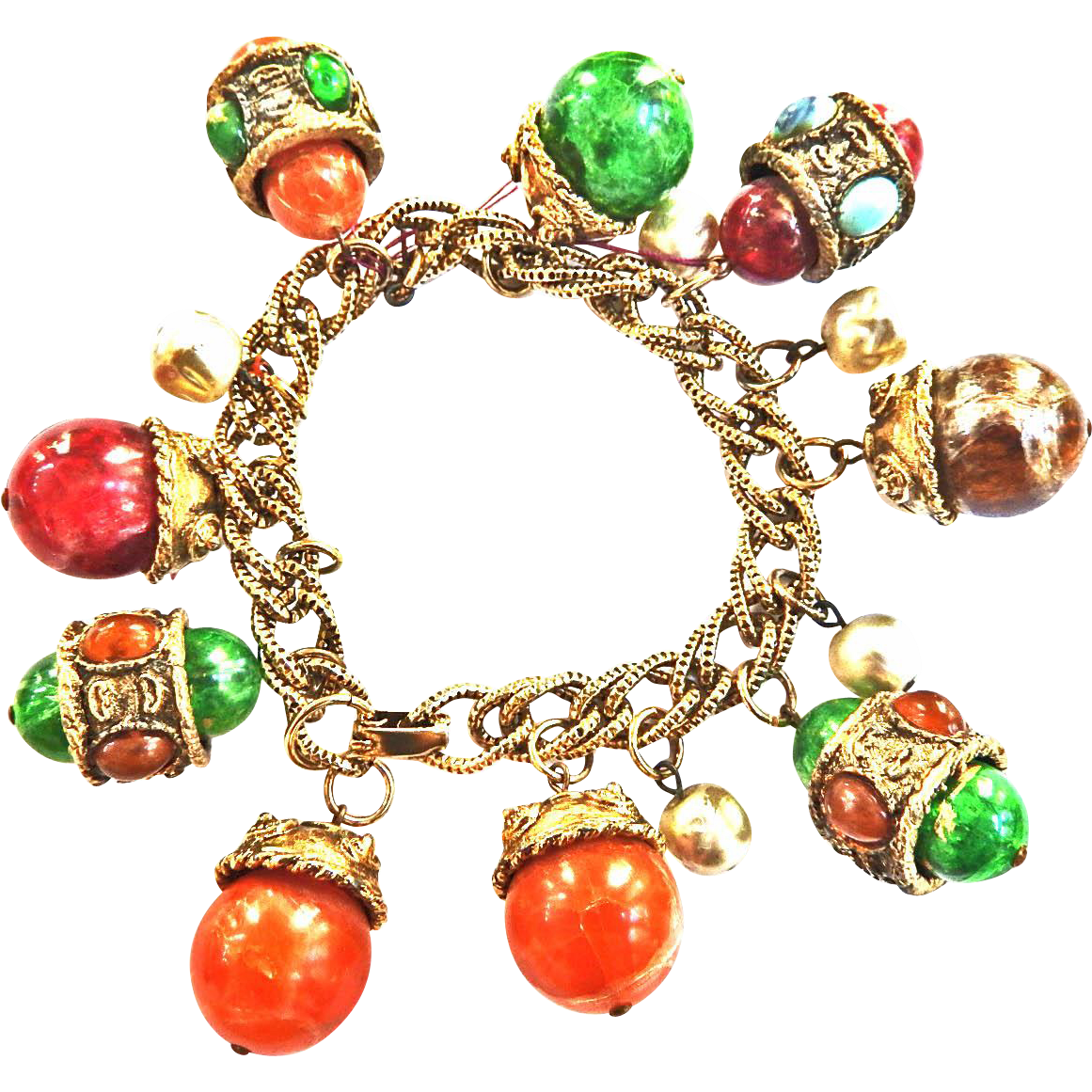 Huge FOB Vintage Charm Bracelet