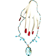 Gorgeous Early 1900s Czech Aqua Pendant Necklace