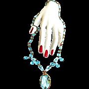 Gorgeous Early 1900s Czech Aqua Pendant Necklace