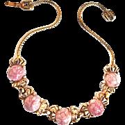 Beautiful Reja Easter Egg Pink Marbled Vintage Necklace