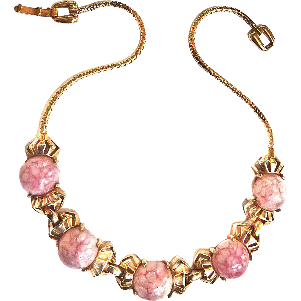 Beautiful Reja Easter Egg Pink Marbled Vintage Necklace