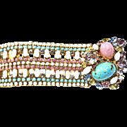 Show Stopping Hobe Massive Pastel Bracelet c. 50s