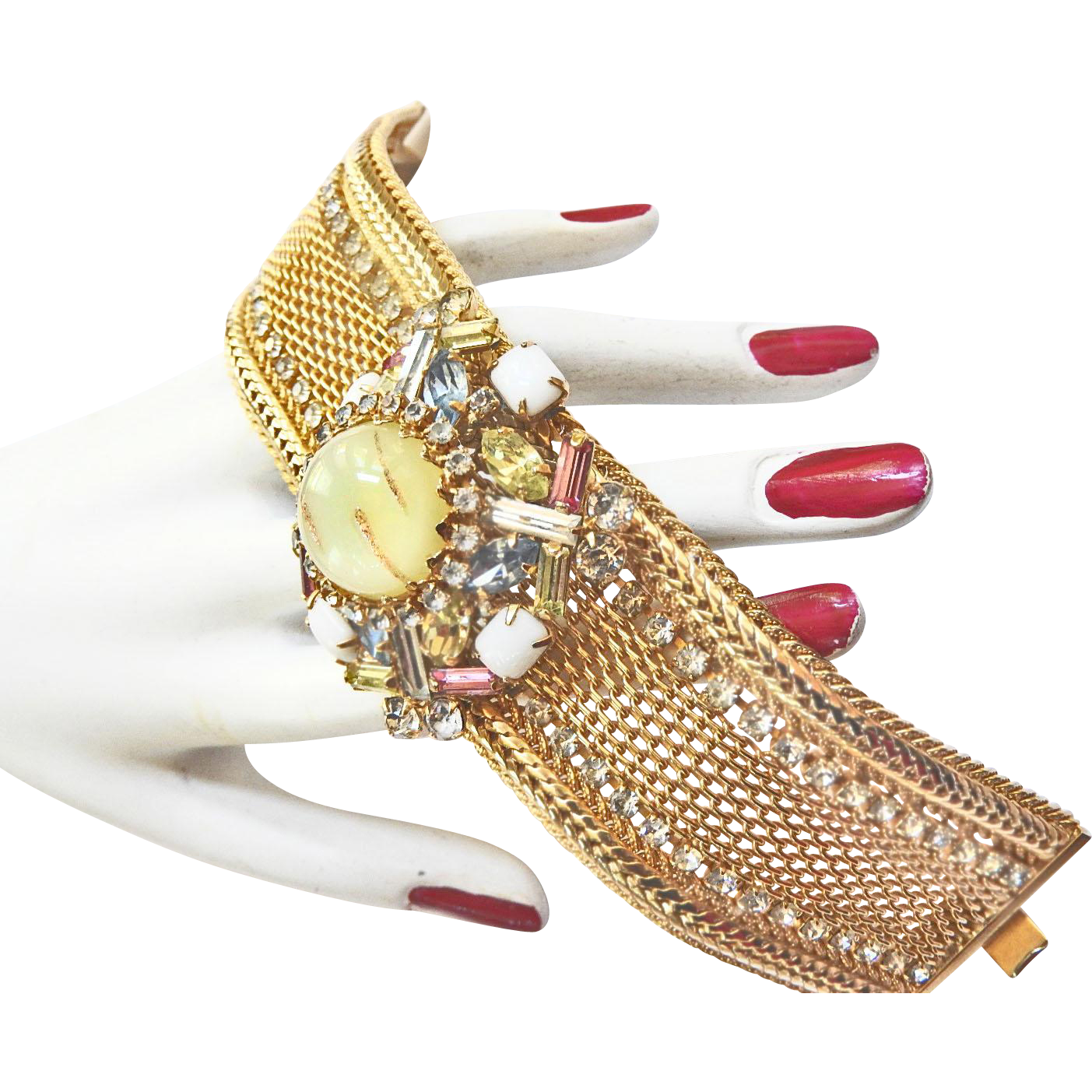 Big Chunky 1950s  Hobe Rhinestone Bracelet Art Glass