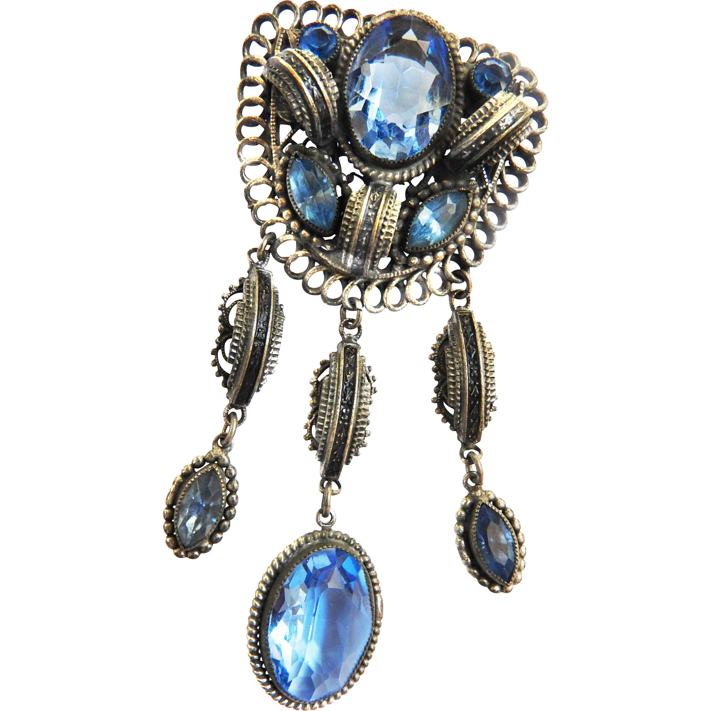 Vintage Czech Early 1900s Drippy Sapphire Blue Brooch