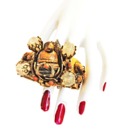 Magnificent Griffin Buddha Vintage Cuff Bracelet