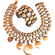 Spectacular Mid Century Modern Copper Collar and Bracelet