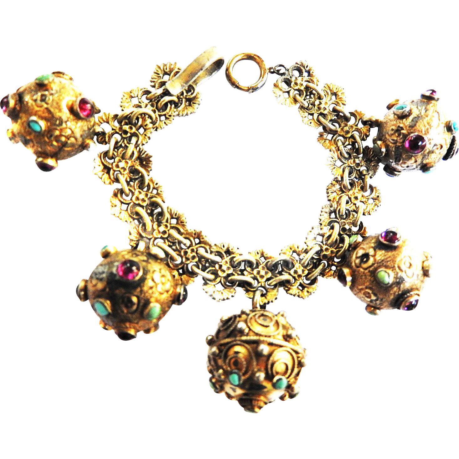 Extraordinary Early 1910s Vintage Eutruscan 800 Silver Gilt Charm Bracelet