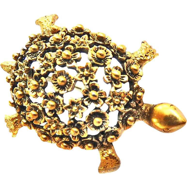Adorable Vintage Tortollani Tortoise Pin