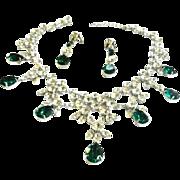 Exquisite Bib Collar Vintage Emerald Glass Huge Demi Parure