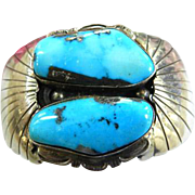 Spectacular Navajo Massive Turquoise and Sterling Silver Cuff Bracelet Vintage