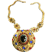 Spectacular  Late 1800s to Early 1900s Czech Jeweled Pendant Necklace