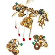 Asian Motif Signed ART Charm Bracelet and Earrings c. 1950s