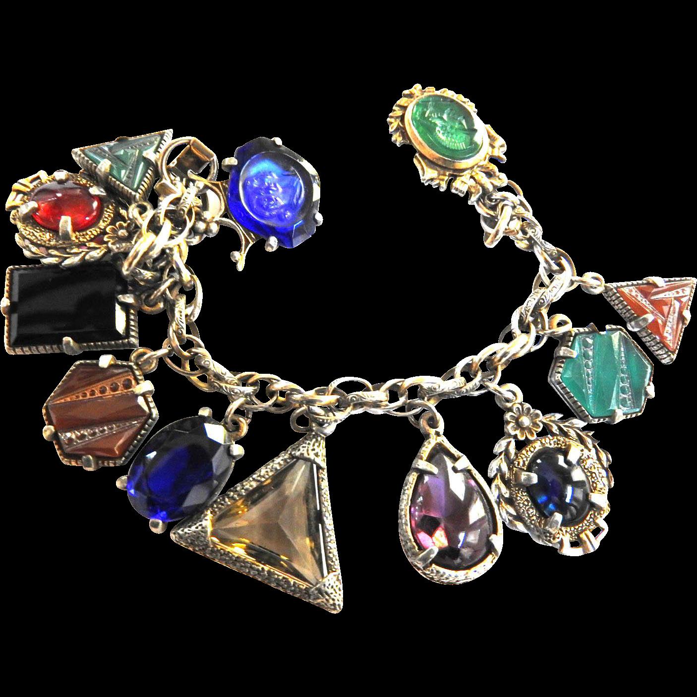 Vintage Fob Glass Charm Vintage Bracelet