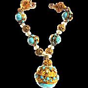 Vintage Turquoise Matrix FOB Charm Bracelet