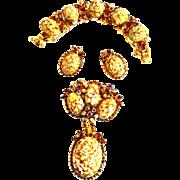Sought After Juliana Italian Marble Necklace Bracelet Earrings Brooch