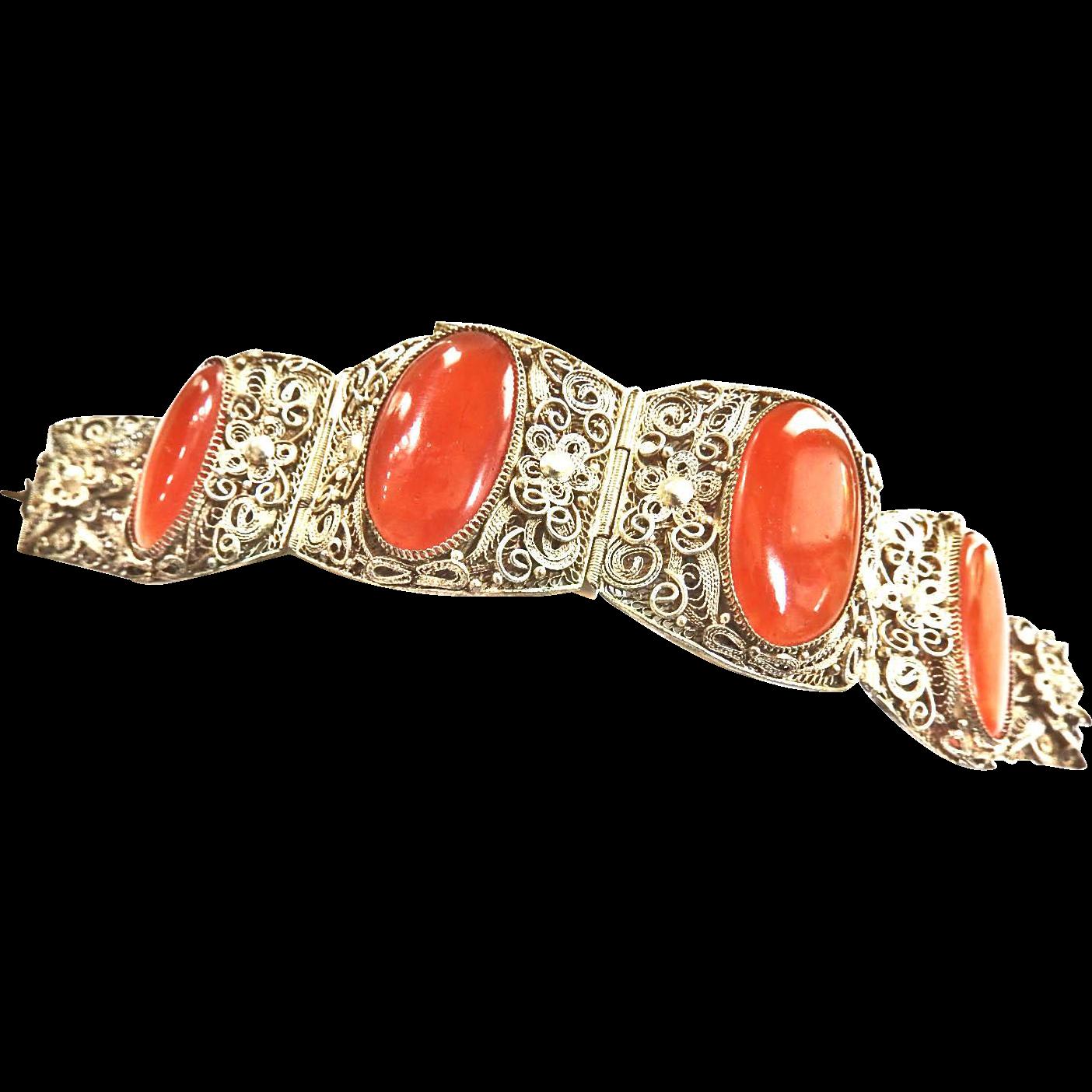 Vintage Asian Chinese Huge Carnelian Bracelet