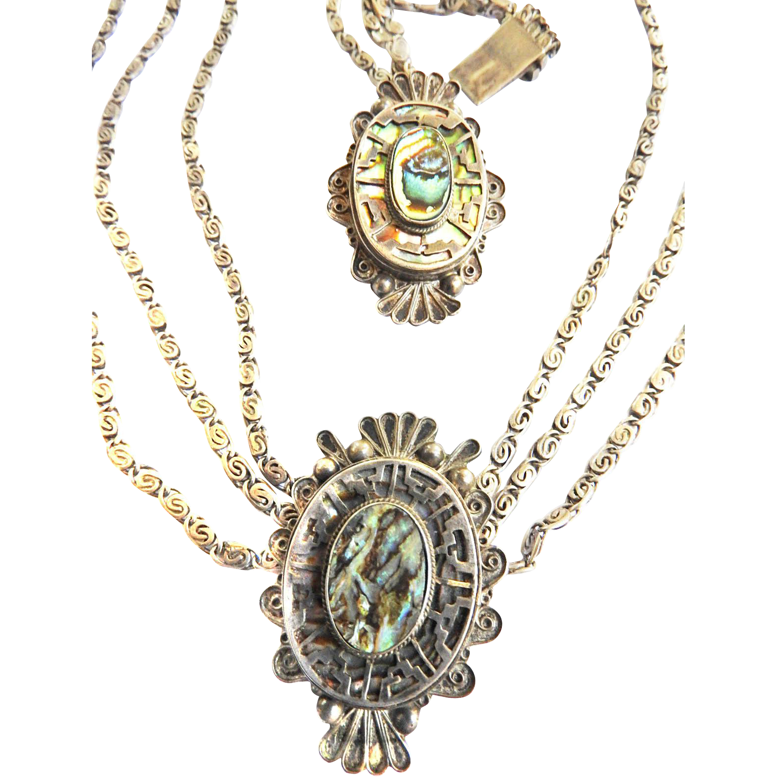 Gorgeous 1940s Sterling and Abalone Mexican Necklace