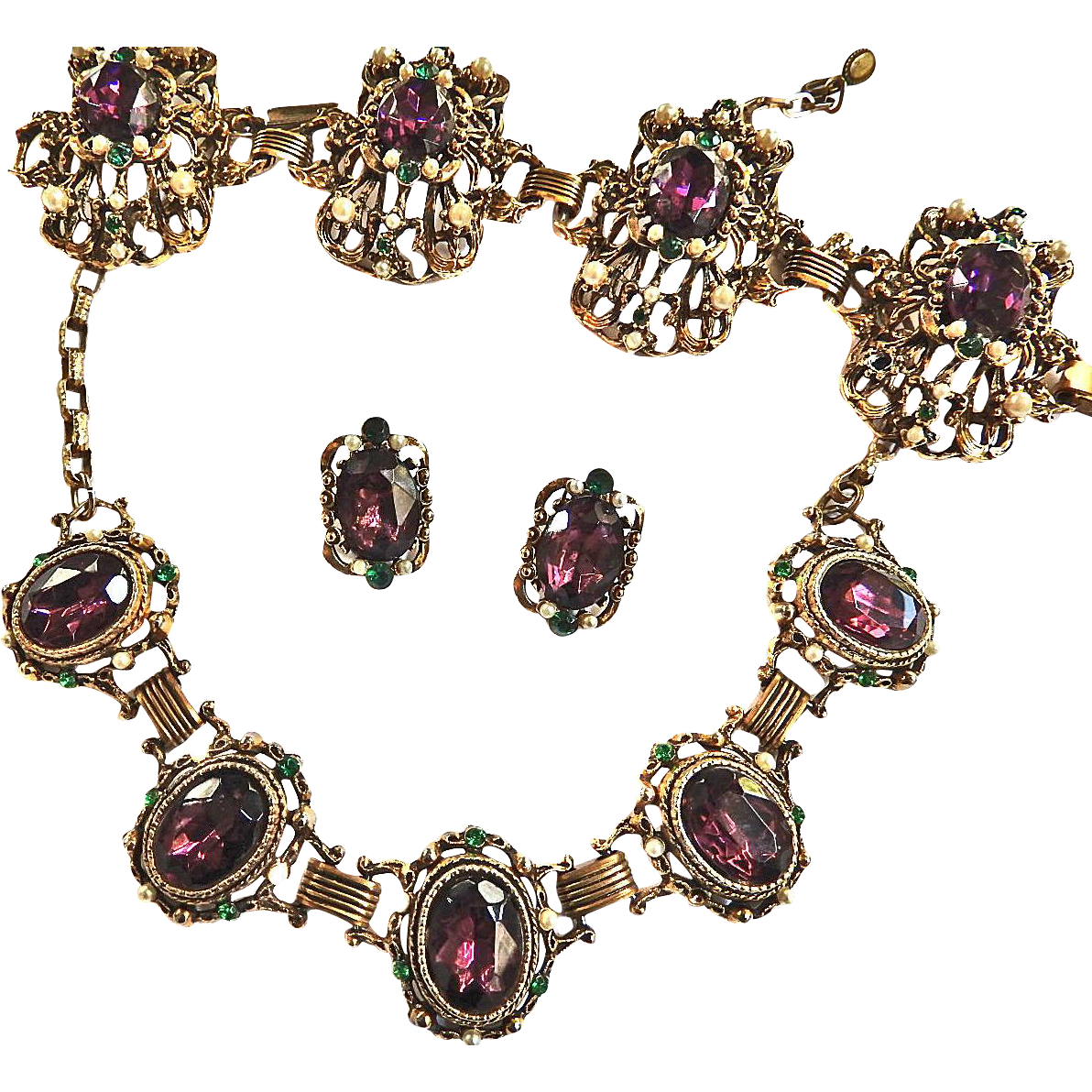 Fabulous Designer Amethyst Huge Vintage Necklace Bracelet  Earrings Rhinestone Faux Pearls