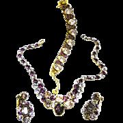 Fabulous Vendome Amethyst Necklace Bracelet Earrings  vintage