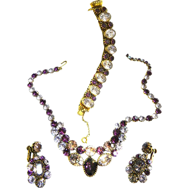 Fabulous Vendome Amethyst Necklace Bracelet Earrings  vintage