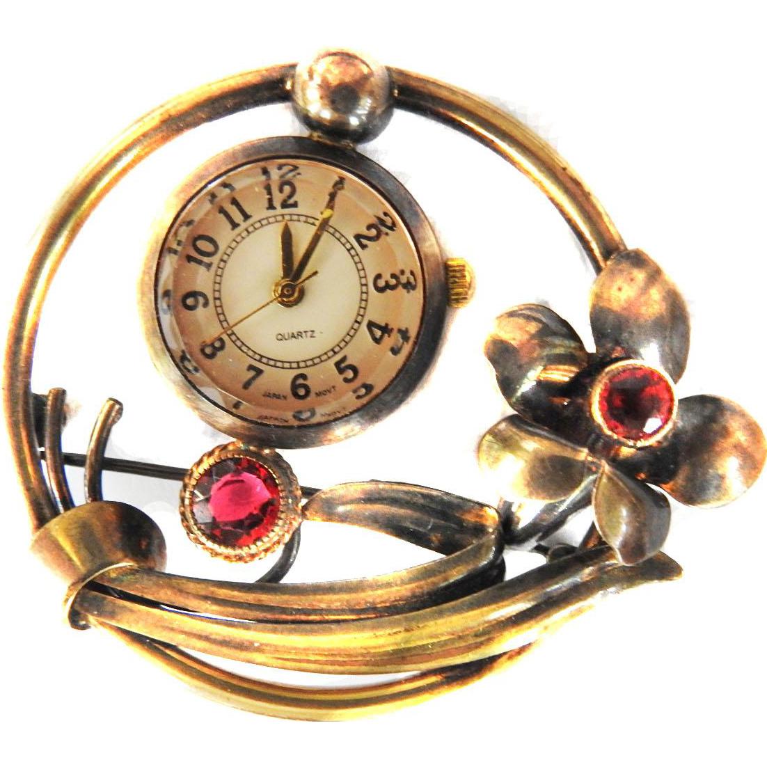 Exquisite Quartz Rhinestone Brooch Watch Deco Style 1930s