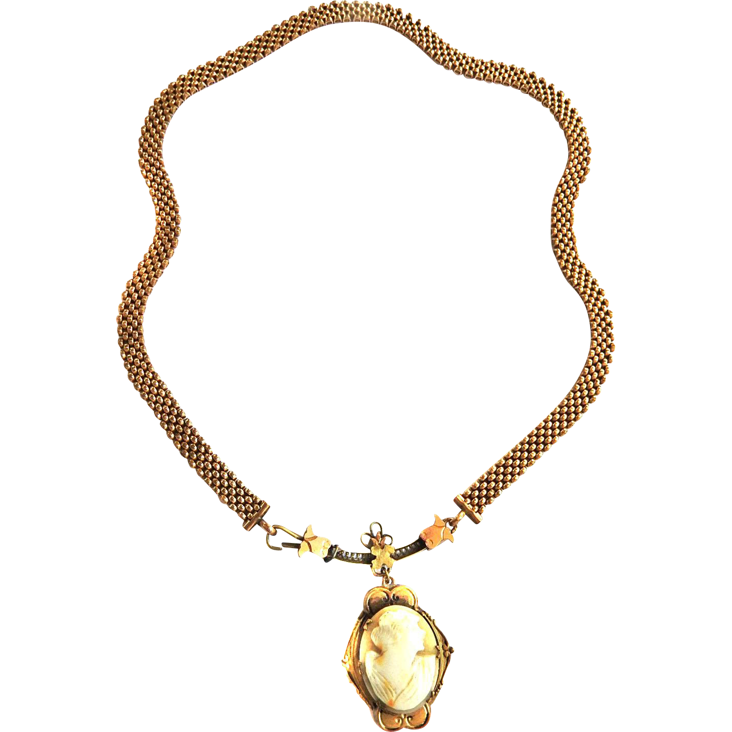 Victorian Carved Hard Shell Cameo Necklace