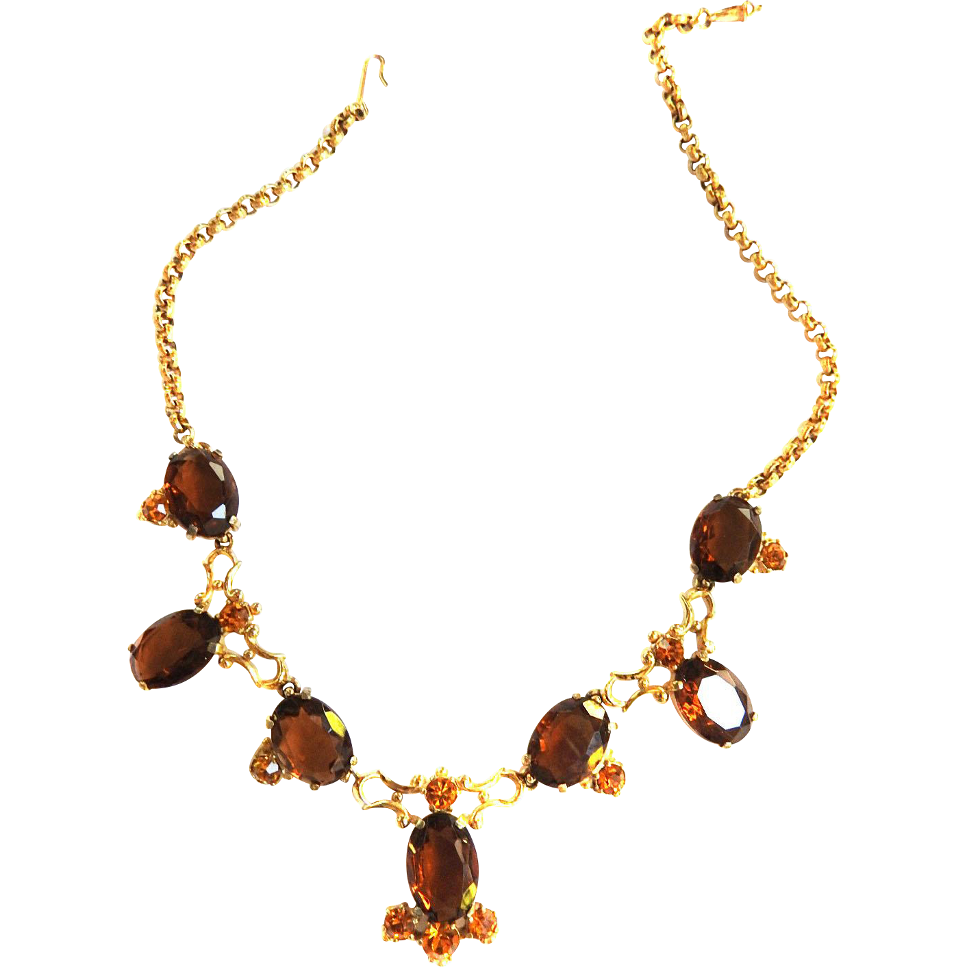 Schiaparelli Vintage Topaz Huge Stones Necklace