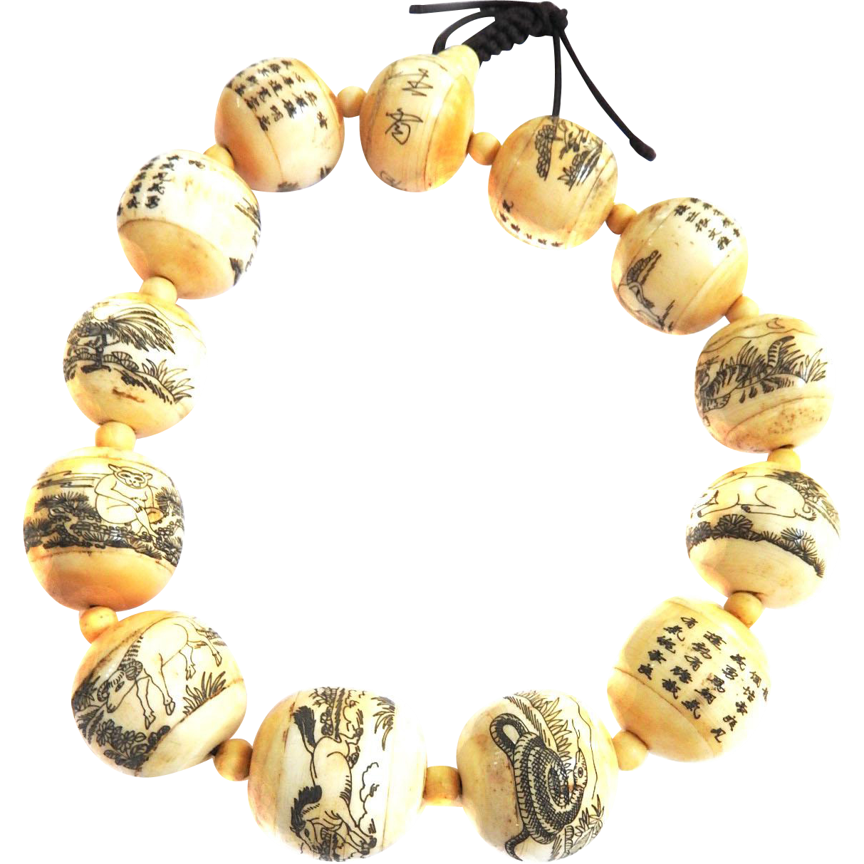 Gigantic Asian Inscribed Prayer Beads