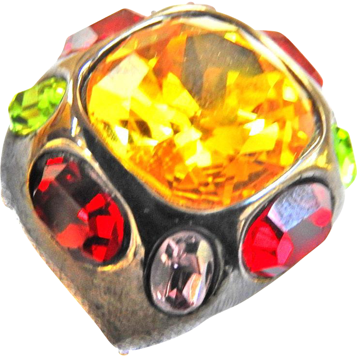 Chunky Big Stones Cocktail Vintage Ring