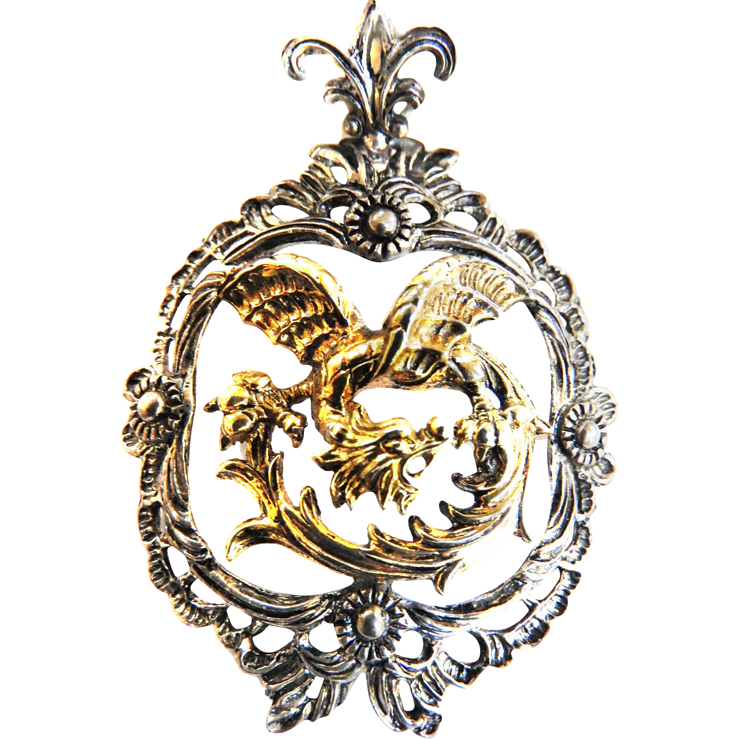 Vintage Silver Griffin Pendant  European
