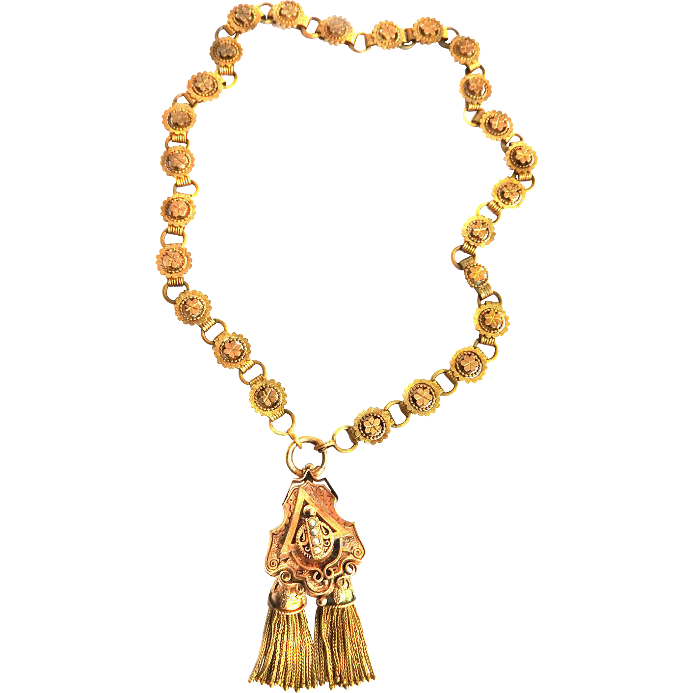 Exquisite Heavy Victorian Rose Gold Necklace w Hanging Pendant seed pearls