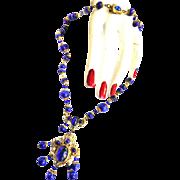 Early 1900s Art Nouveau Lapis Drippy Necklace