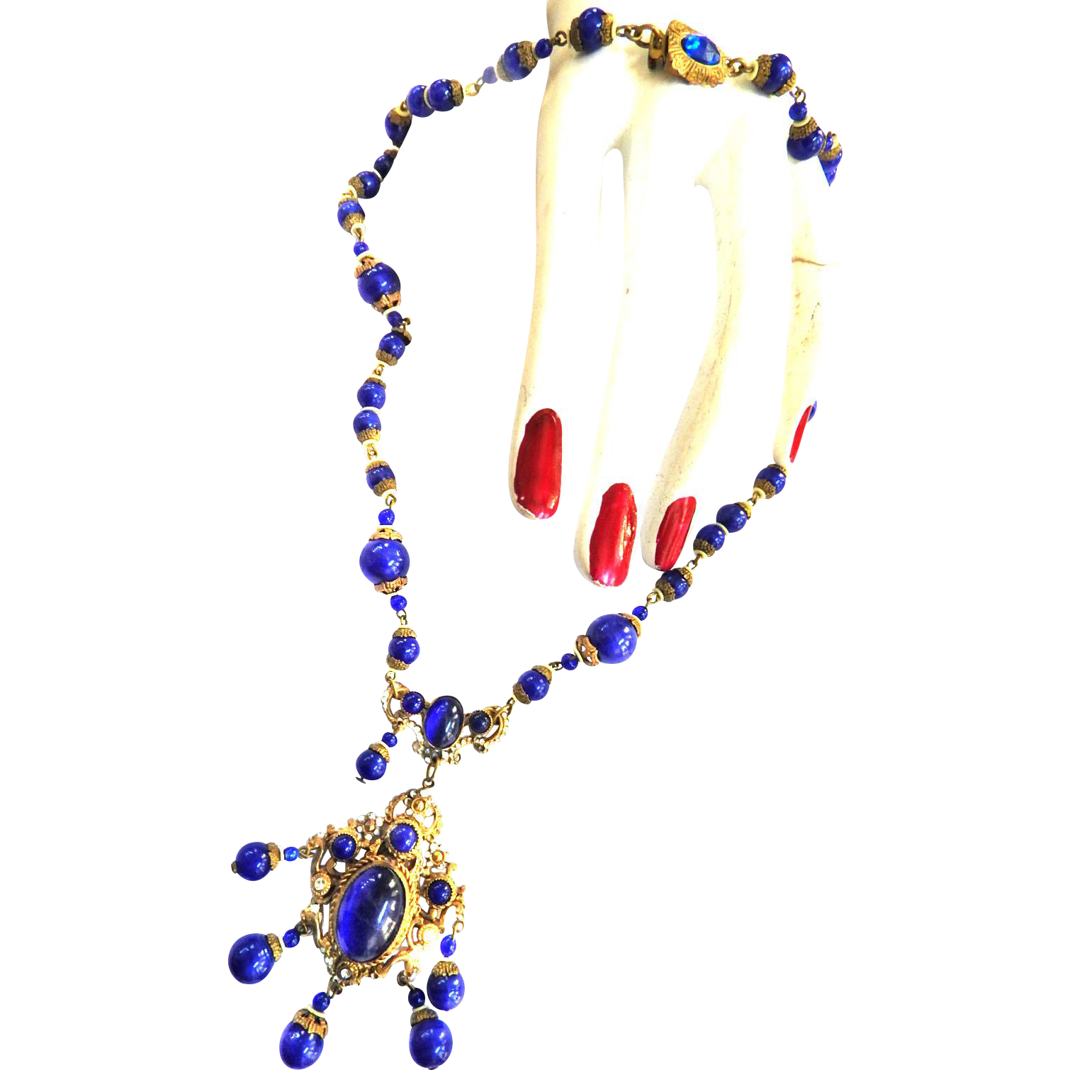 Early 1900s Art Nouveau Lapis Drippy Necklace