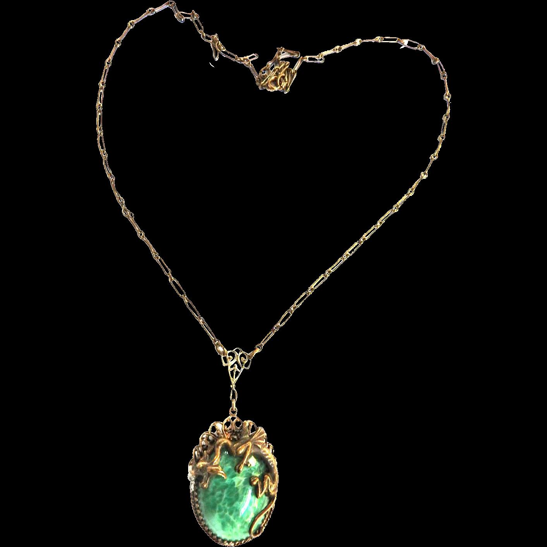 Mystical Vintage Griffin Egg Pendant Necklace