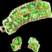 Big Chunky Peridot Vinate Rhinestone Bracelet and Earrings
